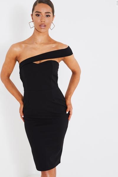 Black Sweetheart One Shoulder Midi Dress